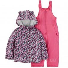 Комбинезон зимний Carter's для девочек (розовый в цветочек)
